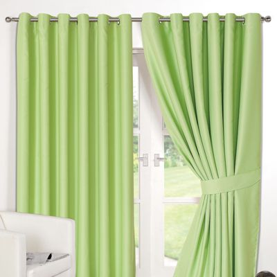 Dreamscene Pair Thermal Blackout Eyelet Curtains, Lime - 90
