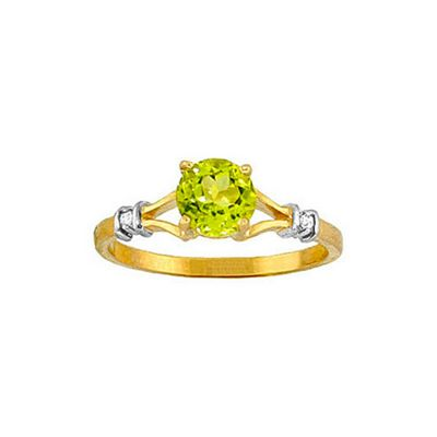 QP Jewellers Diamond & Peridot Aspire Ring in 14K Gold - Size B 1/2