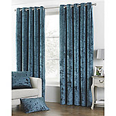 Riva Home Crushed Velvet Verona Eyelet Curtains - Teal