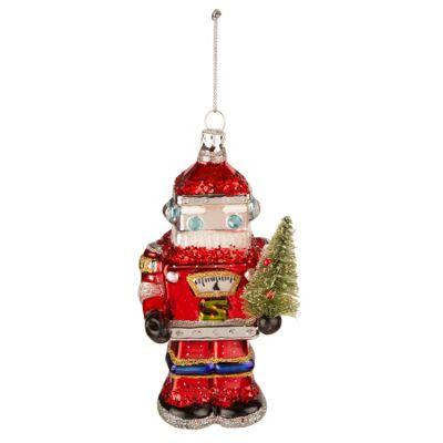 Retro Santa Robot Glass Christmas Bauble