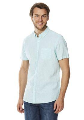 F&F Striped Linen-Blend Short Sleeve Shirt Mint 2XL