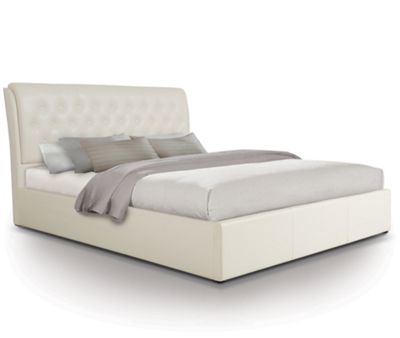 Extra Padded Buttoned Ottoman Gas Lift Storage Bed Upholstered in Faux Leather - King - White