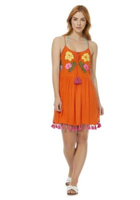 F&F Embellished Tassel Trim Beach Dress Orange L