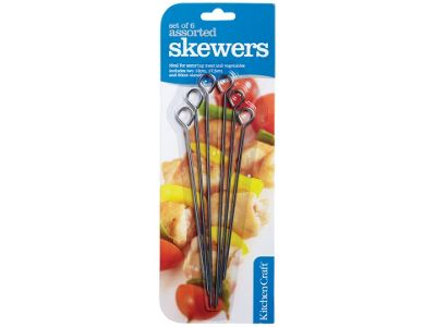 Kitchen Craft Assorted Skewer 15,18&20cm X6