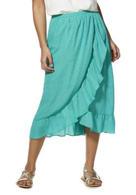 Only Dotty Frill Midi Wrap Skirt Green 12