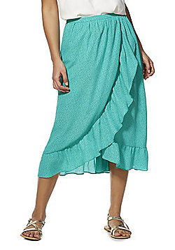 Only Dotty Frill Midi Wrap Skirt - Green