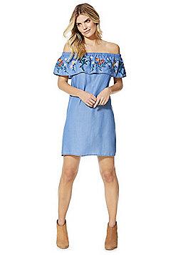 F&F Embroidered Bardot Summer Dress - Blue & Multi