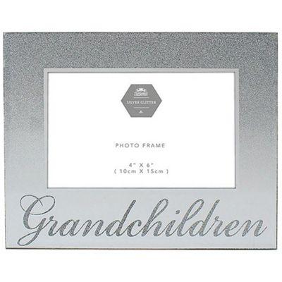 Sparkle - Glass Rectangular 6 X 4 Photo Frame - Grandchildren - Silver