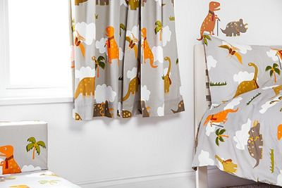 Ready Steady Bed Kids Jurassic Theme Pencil Pleat Curtains 66x72 with Tiebacks