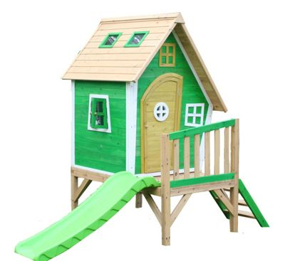 Whacky Tower Wooden Playhouse with Slide, Children's Painted Wendy House