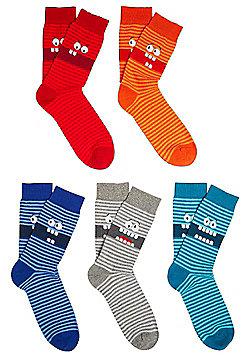 F&F 5 Pair Pack of Faces Fresh Feel Socks - Multi