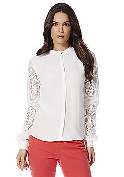 Vila Lace Sleeve Collarless Blouse - Cream
