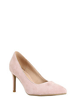 F&F Sensitive Sole Wide Fit Faux Suede Pointed Court Shoes - Blush Pink