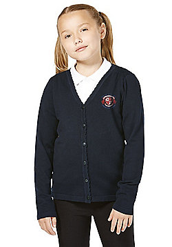 Girls Embroidered Scallop Edge School Cotton Cardigan with As New Technology - Navy