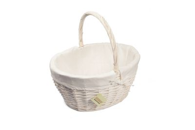 Woodluv Medium Oval White Wicker Storage Hamper Basket With Lining