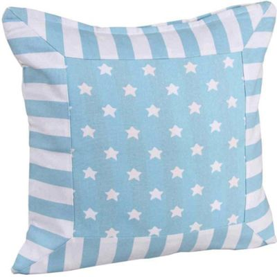 Homescapes Cotton Blue Stripe Border and Stars Cushion Cover, 60 x 60 cm
