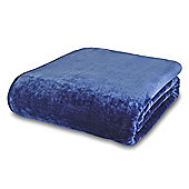 Catherine Lansfield Home Plain Raschel Navy Throw - Large