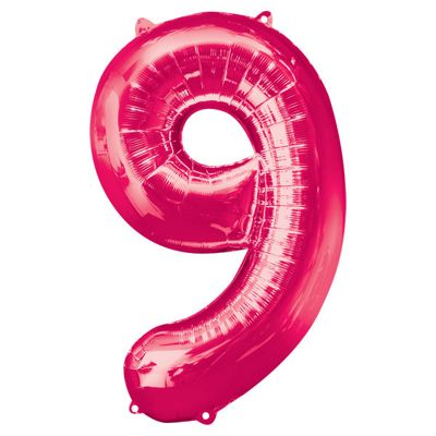 Pink Number 9 Balloon - 34 inch Foil