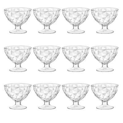 Bormioli Rocco Diamond Dimpled Clear Stemmed Ice Cream Sundae Dessert Bowls - 360ml - Pack of 12
