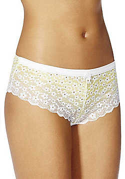 F&F Signature Delilah Floral Lace Shorts - Yellow
