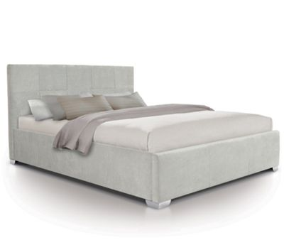 Tufted Designer Fabric Oversized Ottoman Gas Lift Storage Bed - Double - Light Grey