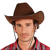 Brown Cowboy Western Rodeo Hat With Adjustable Toggle Fancy Dress Accessory