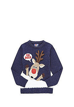 F&F Oh Deer Light-Up Musical Christmas Jumper - Navy