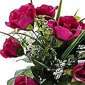 Homescapes Cerise Pink Artificial Flower Bush Bouquet Arrangement with Rose Mix