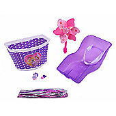Girls Purple Bike Pack Dolly Seat Front Dolls Seat Windmill Tassels & Free Grips