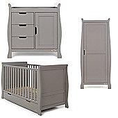 Obaby Stamford 3 Piece (Single Wardrobe) Nursery Room Set - Taupe Grey