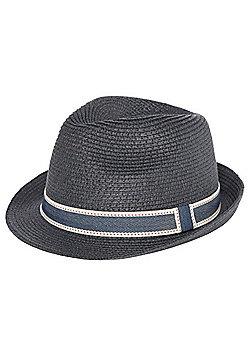 F&F Straw Trilby Hat - Navy