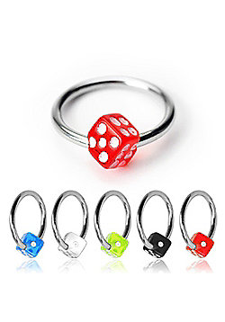 Urban Male Pack Of Five Surgical Stainless Steel Ball Closure Rings Dice Design 1.2mm