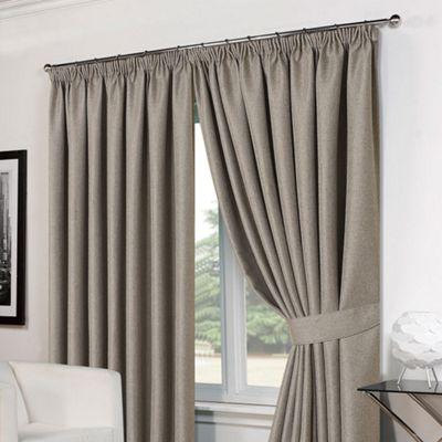 Dreamscene Pair Basket Weave Pencil Pleat Curtains, Silver - 46