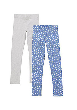 F&F 2 Pack of Marl and Floral Leggings - Grey & Blue