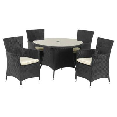 royalcraft cannes 110cm round 4 seat garden furniture set black