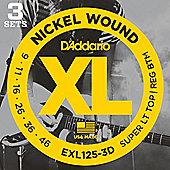 D'Addario EXL125 (9-46) Electric Guitar Strings 3-Pack