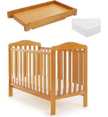 Obaby Ludlow Cot/Mattress/Cot Top Changer - Country Pine