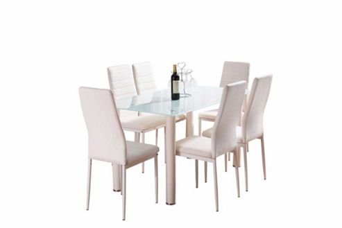 Buy White Lunar Dining Set With Six White Montero Chairs From Our Dining Tabl
