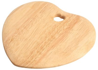 T&G Colonial Home Heart Shaped Chopping Board With Heart Cut Out In Hevea