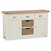 Daymer Painted Sideboard - Large Sideboard With Baskets - Buttermilk Painted