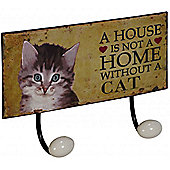 Kitten - Decorative Cat Wall Art With 2 Hooks - Brown / Cream