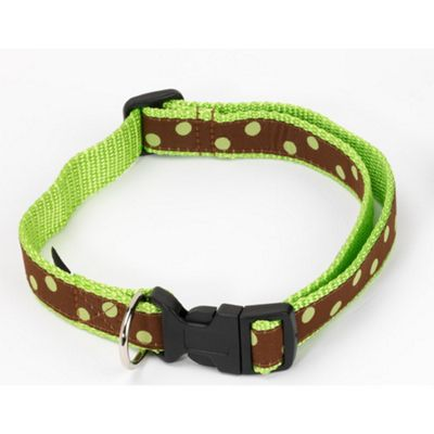 House of Paws Polka Dot Collar in Green - Medium (32cm - 55cm L)