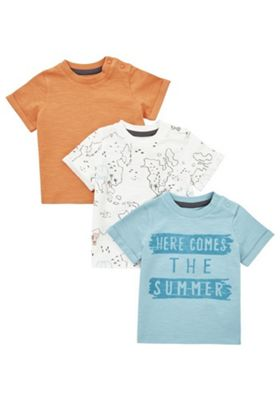 F&F 3 Pack of Earth Short Sleeve T-Shirts Multi 12-18 months