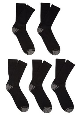 F&F 5 Pair Pack of Workwear Socks Shoe Adult 09-12 Black