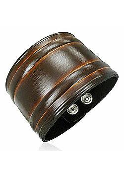 Men's 50mm Brown Leather Cuff Bracelet by Urban Male
