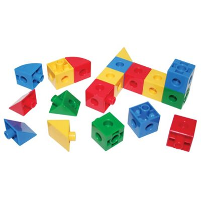 Bigjigs Toys Educational Super Snap Together Shapes - Cubes, Triangles and Sections