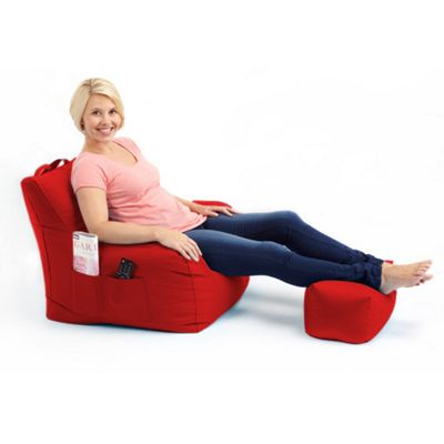 Loft 25 Water Resistant Bean Bag Armchair with Footstool - Red