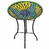 Outdoor 18-Inch Mosaic Butterfly Fusion Glass Bird Bath w/ S