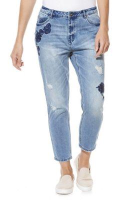Only Embroidered Frayed Boyfriend Jeans 29 Waist 32 Leg Mid wash
