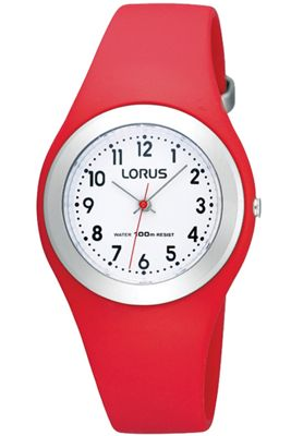 Lorus Childrens Red Rubber Strap Watch R2301GX9